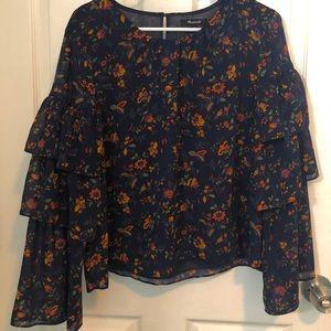 Madewell Navy floral ruffle sleeve blouse
